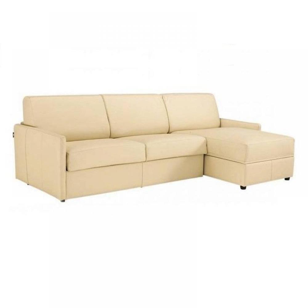 Canapé d'angle 2 places Beige Tissu Confort