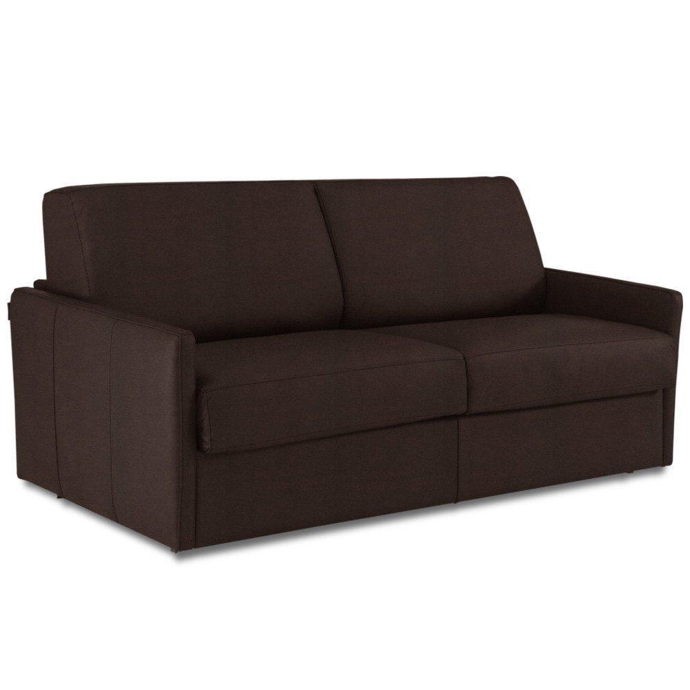 Canapé droit 4 places Marron Tissu Confort
