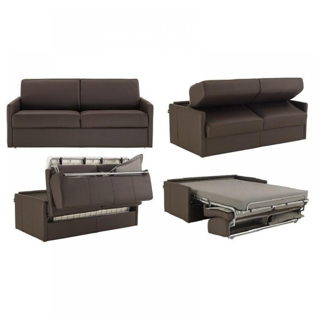 Canapé lit express SUN ELITE polyuréthane marron sommier lattes 140cm assises et matelas 16cm  mémoire de forme