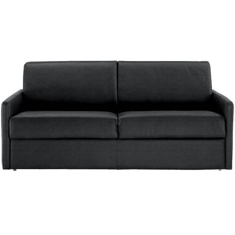 Canapé droit 3 places Noir Tissu Confort