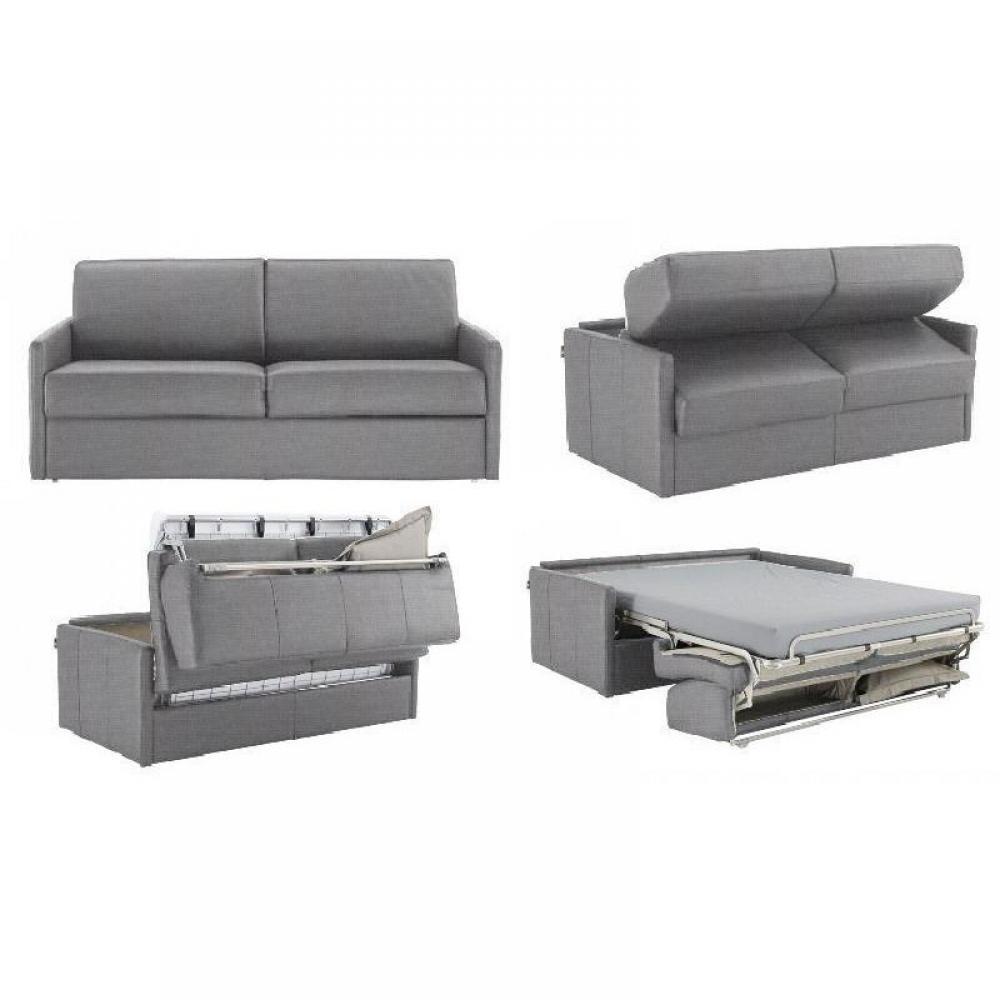 Canapé lit express SUN ELITE tweed gris silex sommier lattes 140cm assises et matelas 16cm  mémoire de forme