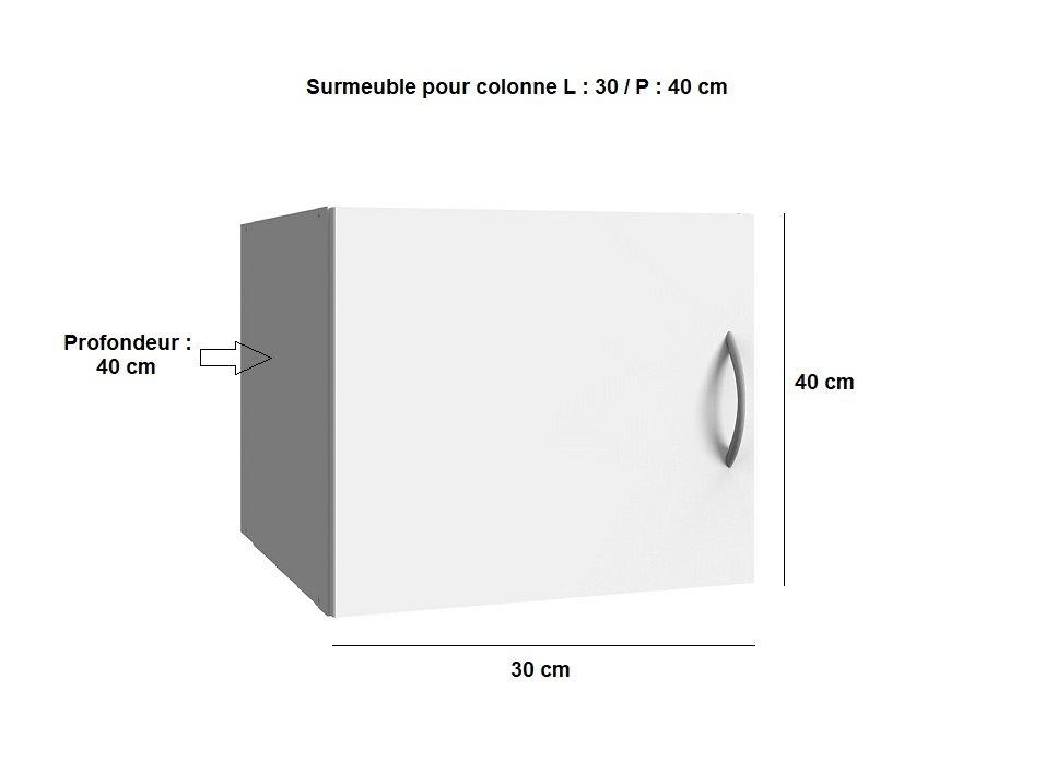 Surmeuble colonne de rangement LUND blanc mat 30 x 40 cm profondeur