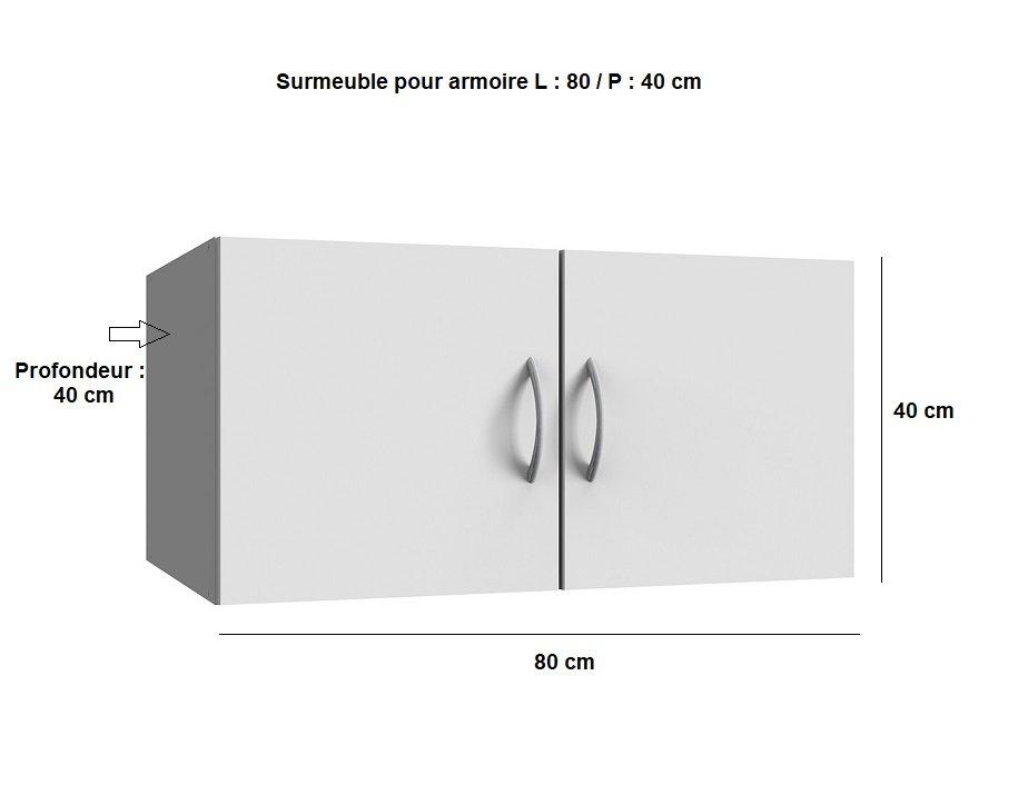 Surmeuble colonne de rangement LUND blanc mat 80 x 40 cm profondeur