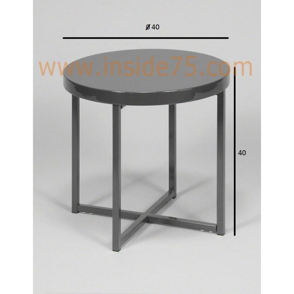 chevets tables et chaises table design d 39 appoint grise laqu e brillant inside75. Black Bedroom Furniture Sets. Home Design Ideas
