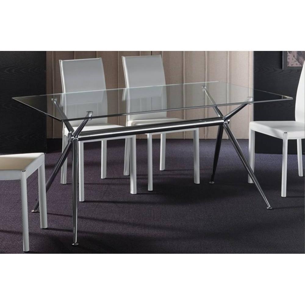 table de repas design au meilleur prix table repas atene 180x90 en verre pi tement acier chrom. Black Bedroom Furniture Sets. Home Design Ideas