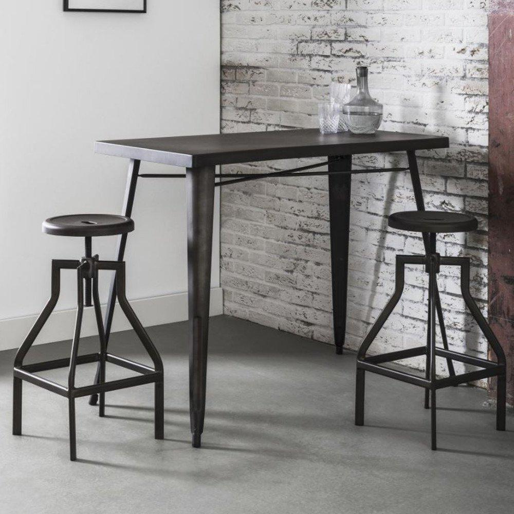 table de bar moderne design au meilleur prix table de bar 120 60 cm industry style industriel. Black Bedroom Furniture Sets. Home Design Ideas