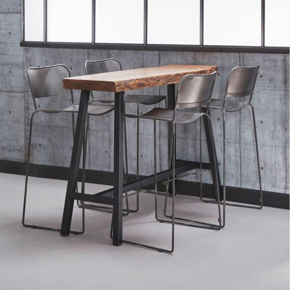 bars tables et chaises table de bar 125 46 cm split style industriel en acier et bois d 39 acacia. Black Bedroom Furniture Sets. Home Design Ideas