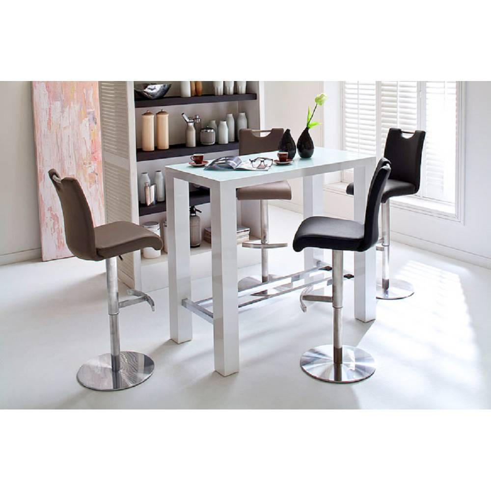 Table de bar design JANIS 120 x 60 cm finition laque blanche brillante