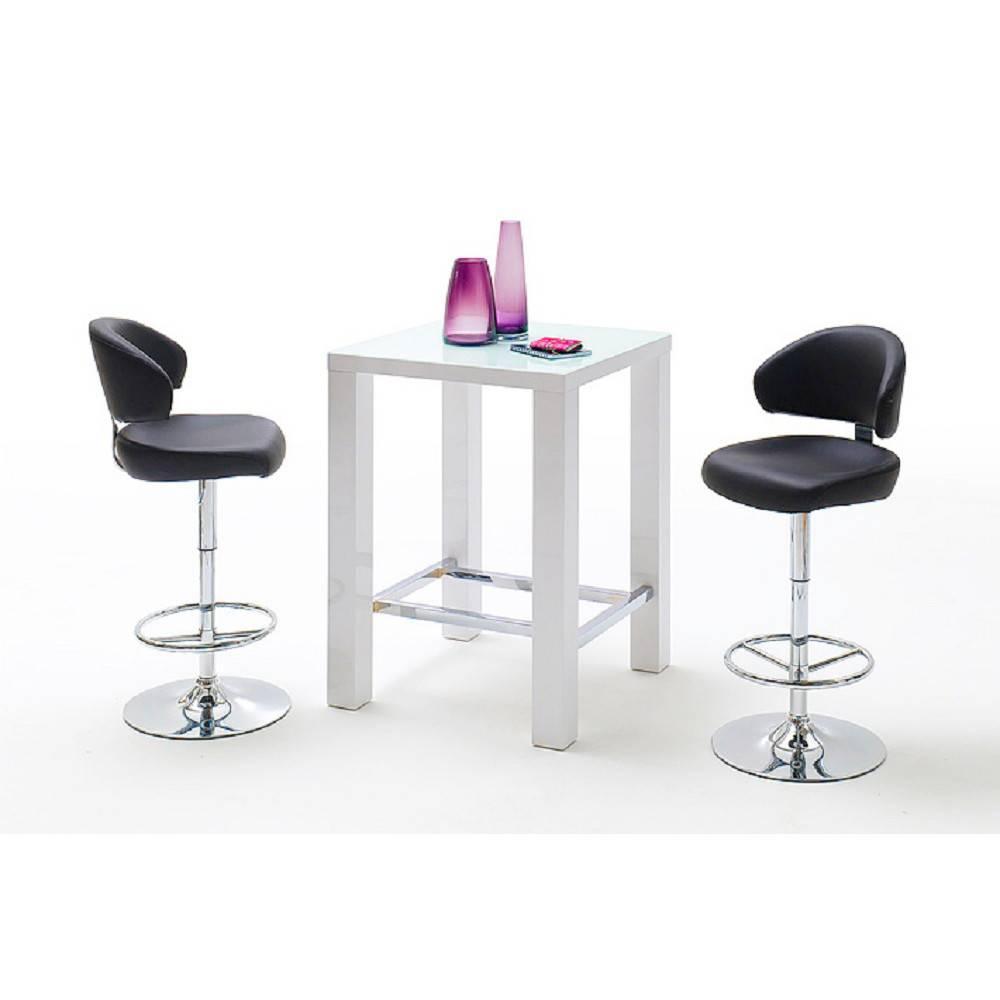 Table de bar design JANIS 80 x 80 cm finition laque blanche brillante
