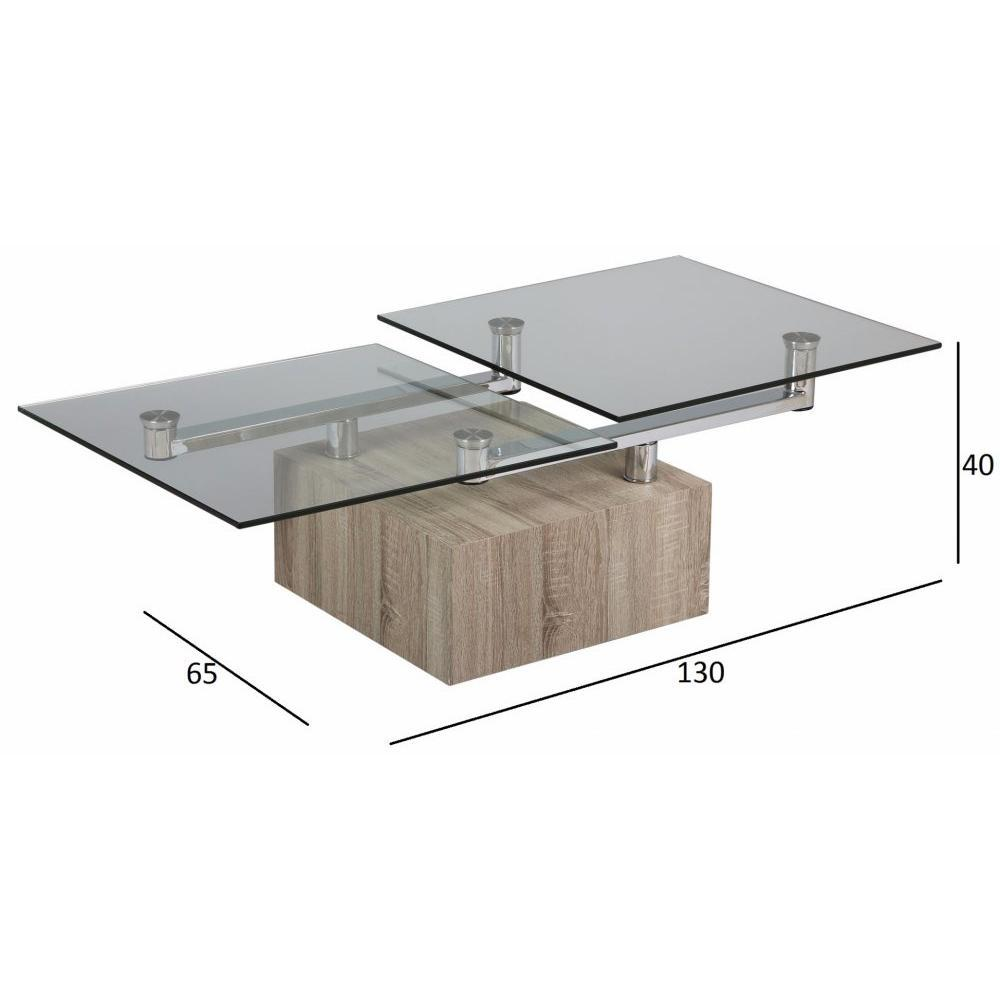Tables Modulables Tables Et Chaises Table Basse Tree En Verre Transparent Plateaux Pivotants