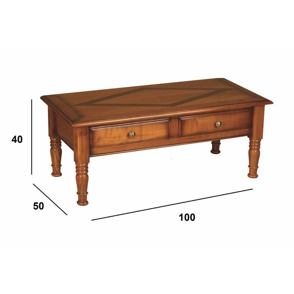 Table basse antoinette 2 tiroirs en merisier de style - Table basse louis philippe ...