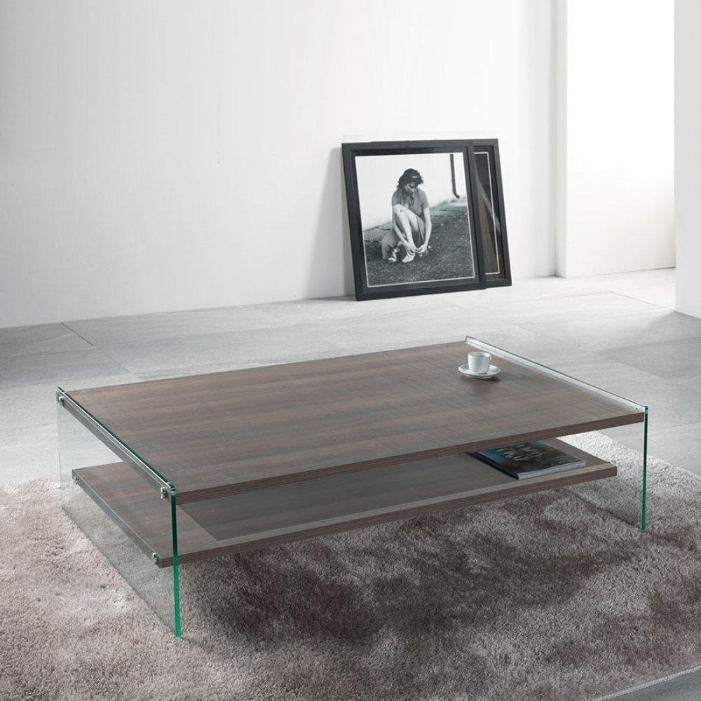 Table basse rectangle BELLA 2 plateaux coloris noyer piétement en verre