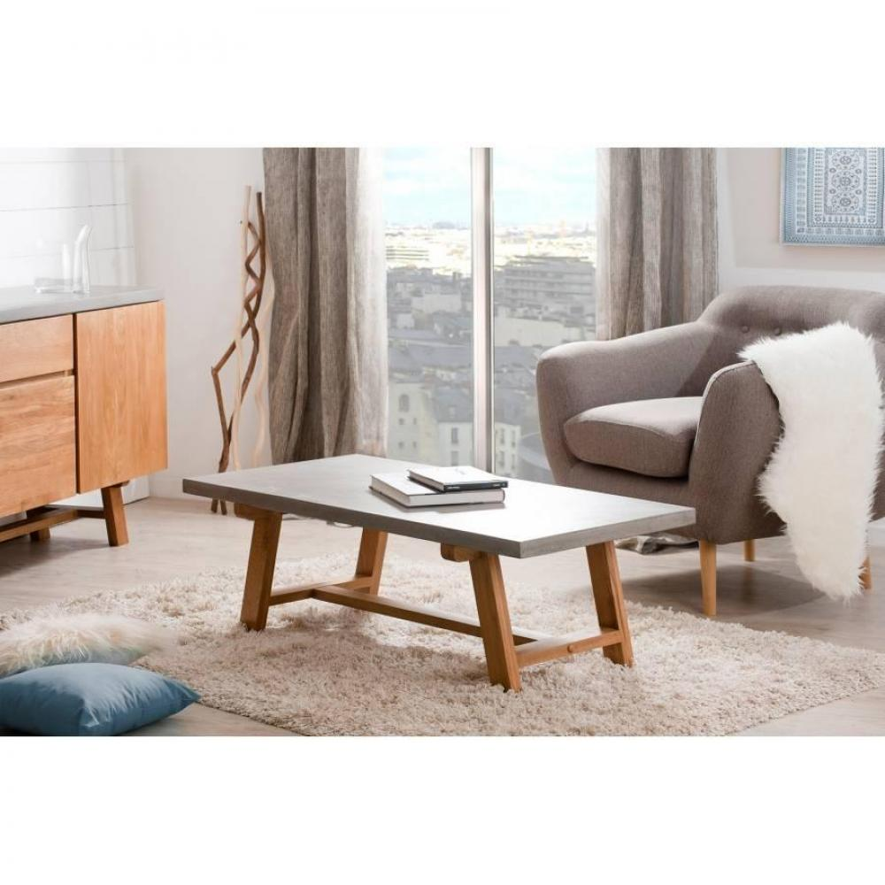 table basse carr e ronde ou rectangulaire au meilleur prix table basse b ton nino en ch ne. Black Bedroom Furniture Sets. Home Design Ideas