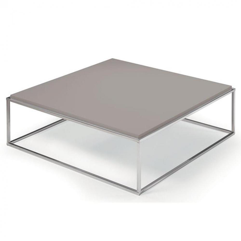 Table basse carrée MIMI XL taupe structure acier inoxydable poli