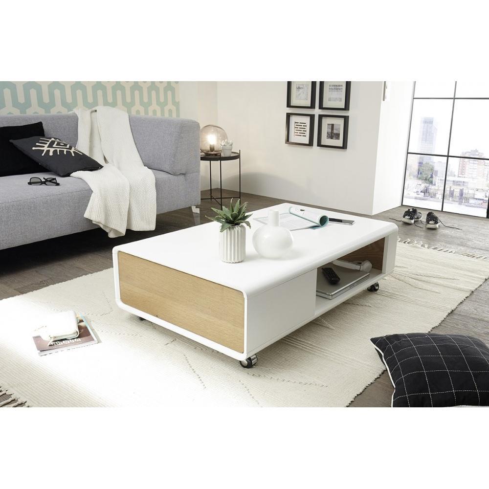 Table basse CORINTHE blanc laque mat et placage chêne 1 tiroir sur roulettes