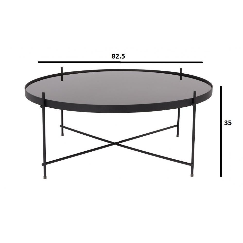 ZUIVER Table basse CUPID  acier noir  82.5 x 35 cm