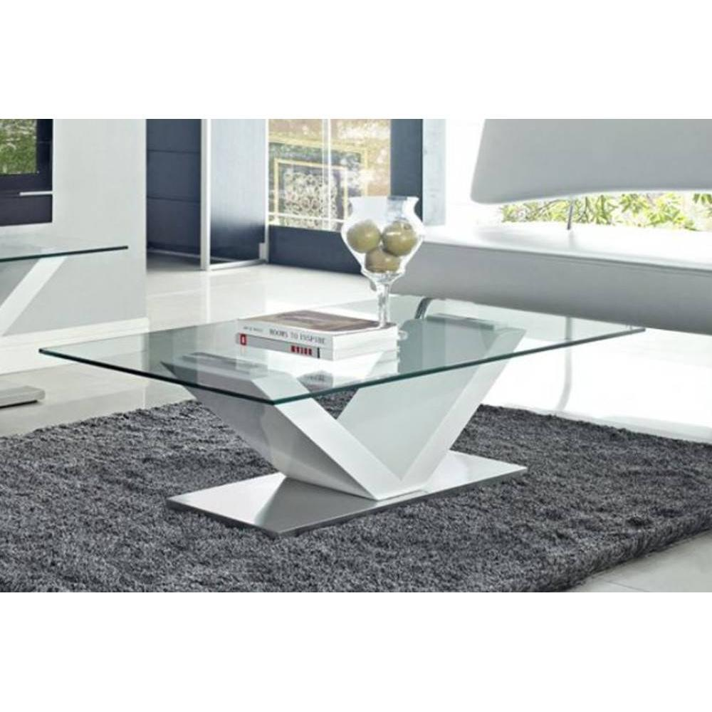 Table basse carr e ronde ou rectangulaire au meilleur prix table basse desi - Table basse en verre blanc ...