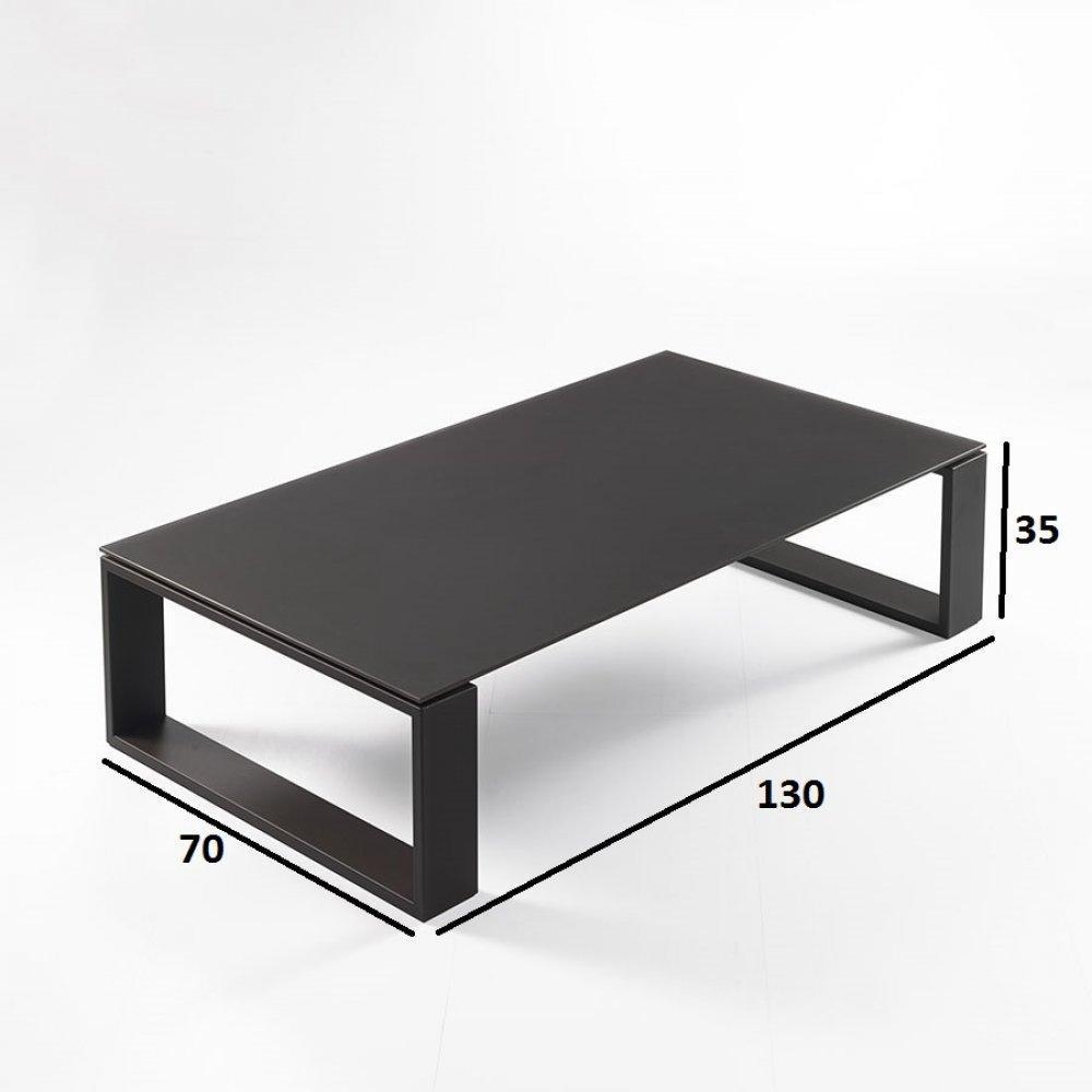 Table basse TACOS verre dépoli chocolat