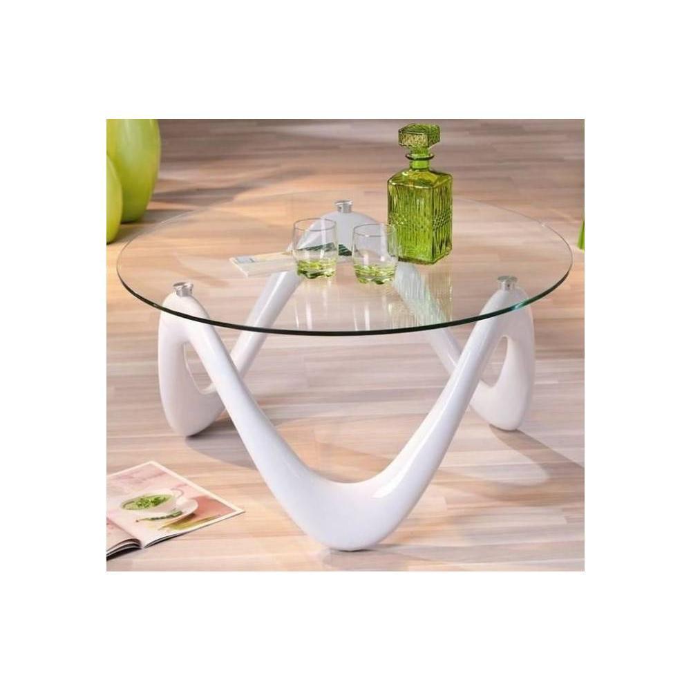 Table basse carr e ronde ou rectangulaire au meilleur prix table basse desi - Table basse blanche verre ...