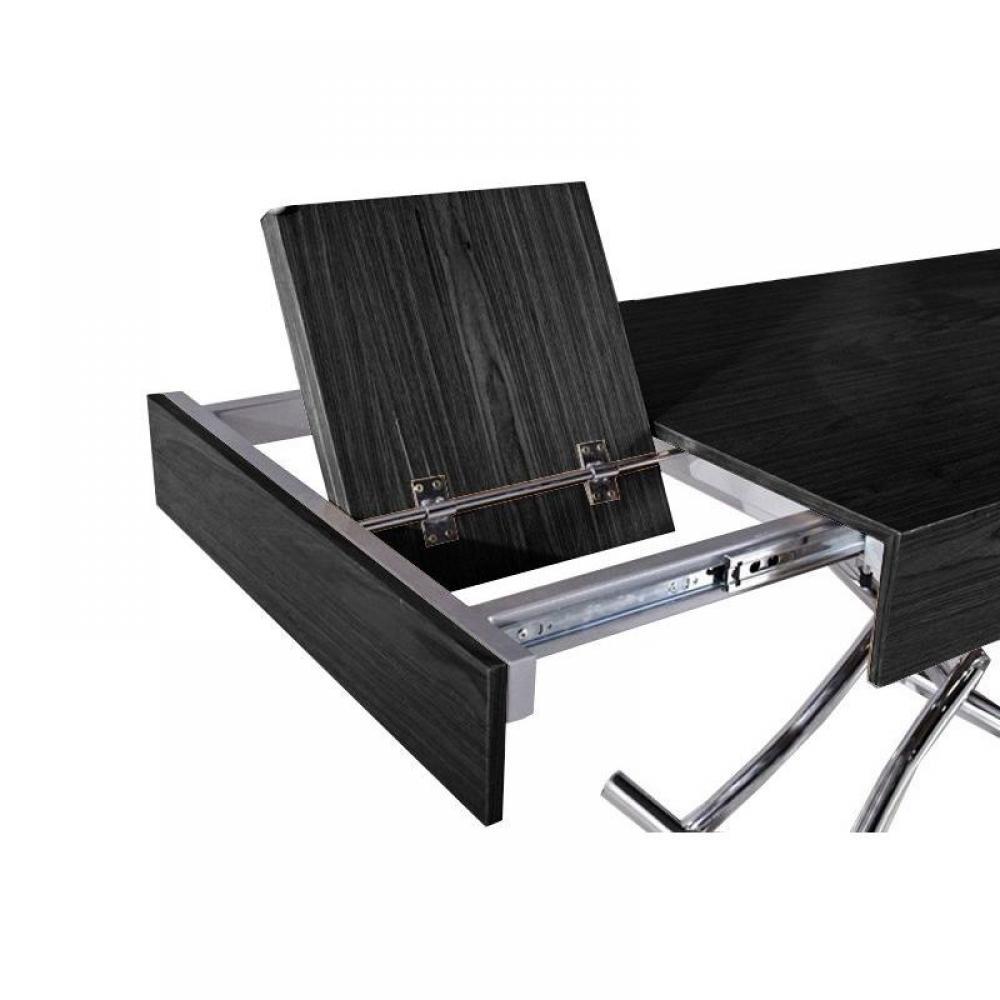Table basse relevable CUBE coloris chêne noir extensible 10 Couverts