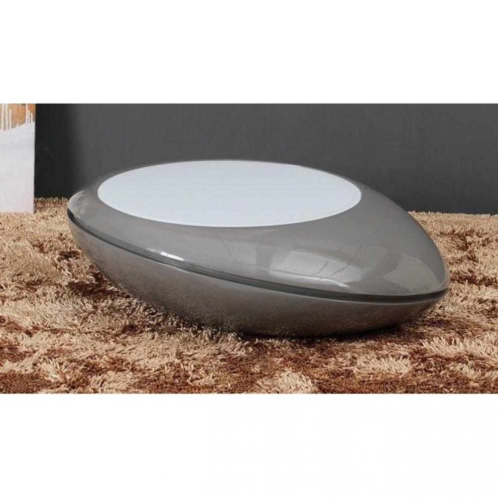 Table basse carr e ronde ou rectangulaire au meilleur prix galet table basse design gris fonce - Table basse design avec led ...