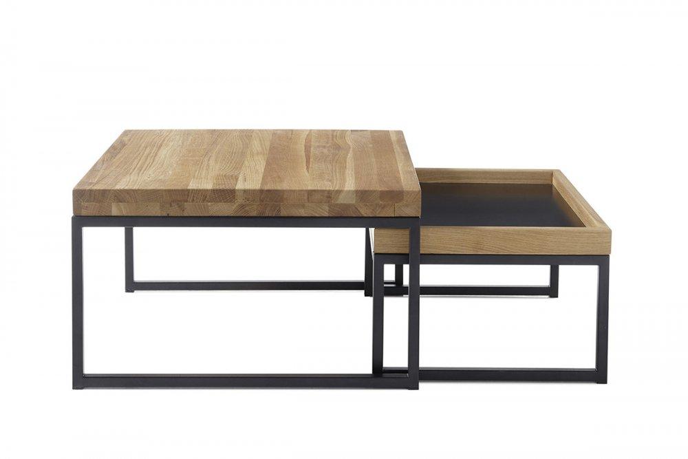 Table basse gigognes LUCON chêne massif pieds noir