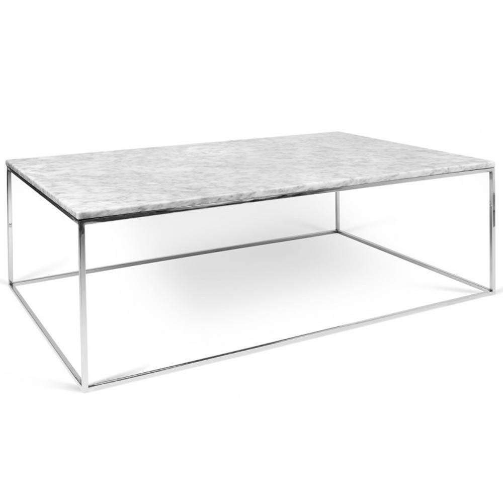Table Basse Rectangulaire Gleam 120 Plateau En Marbre Blanc Structure Chromée