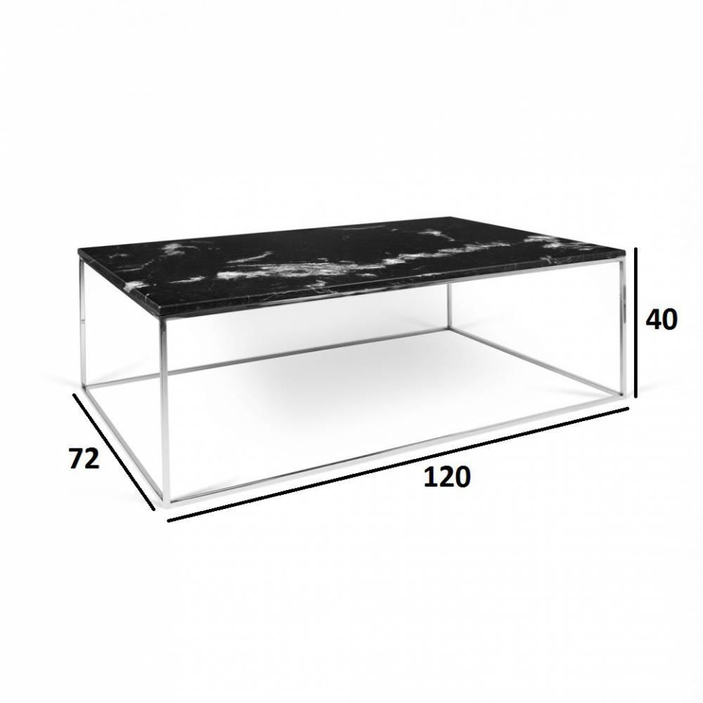 Details Sur Table Basse Rectangulaire Gleam 120 Plateau En Marbre Noir Structure Chromee