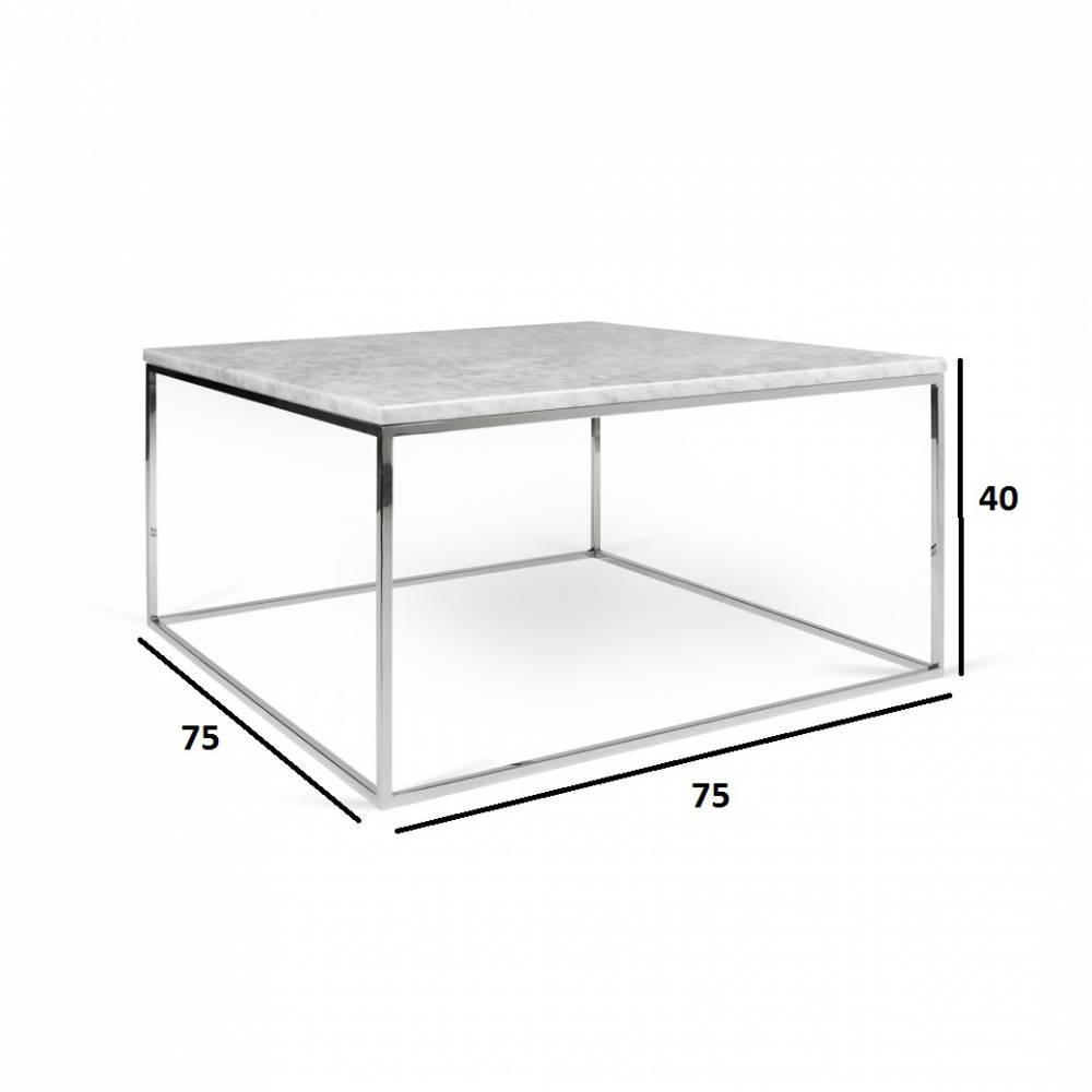 Table Basse Carrée Gleam 75 Plateau En Marbre Blanc Structure Chromée