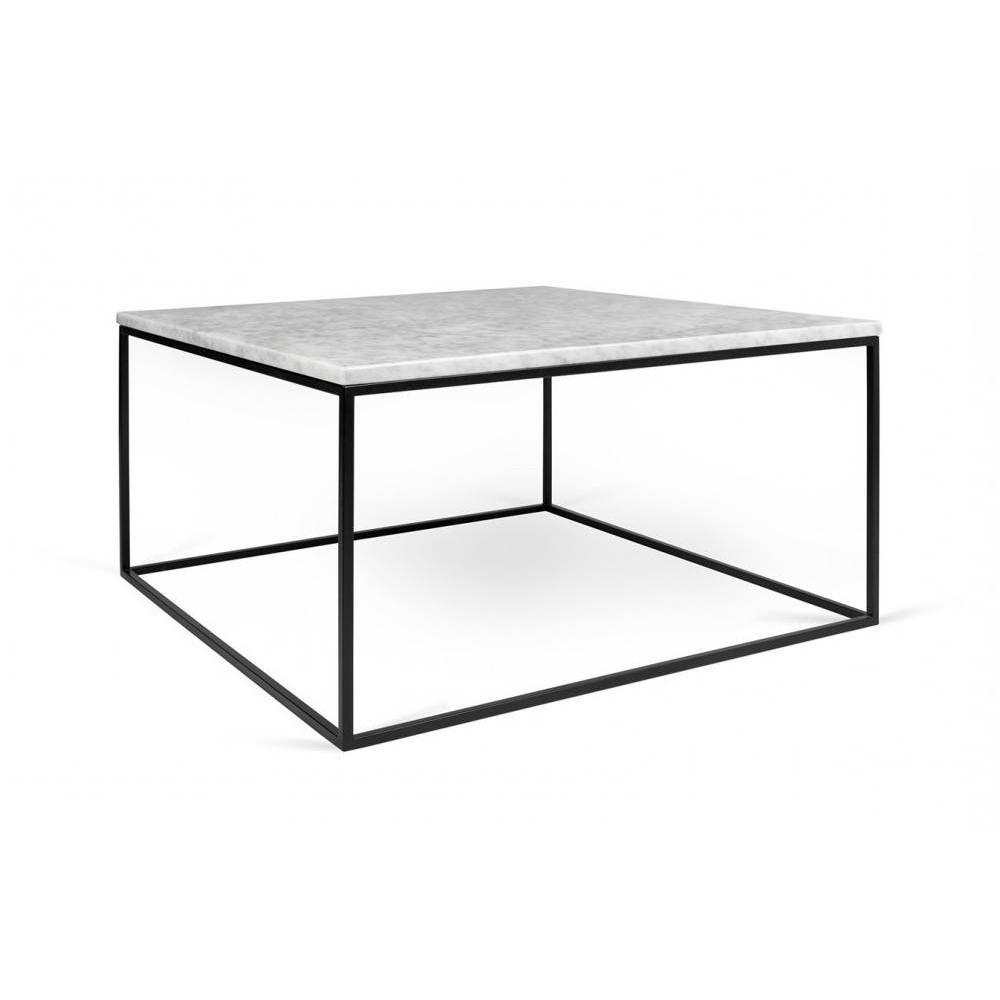 Table Basse Carrée Gleam 75 Plateau En Marbre Blanc Structure Noire