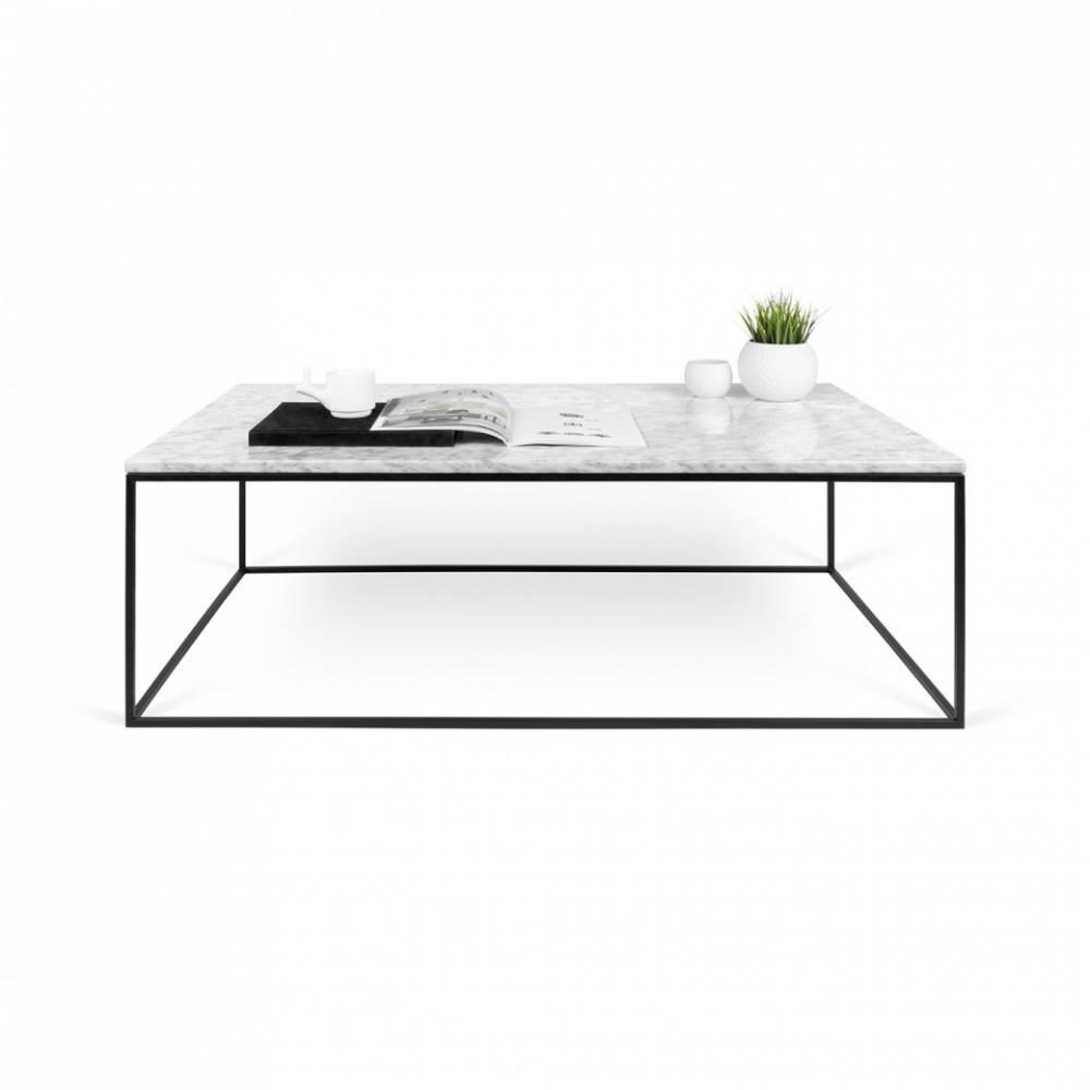 GLEAM en carrée plateau structure basse blanc Table 75 marbre noire R4Aj5Lqc3S