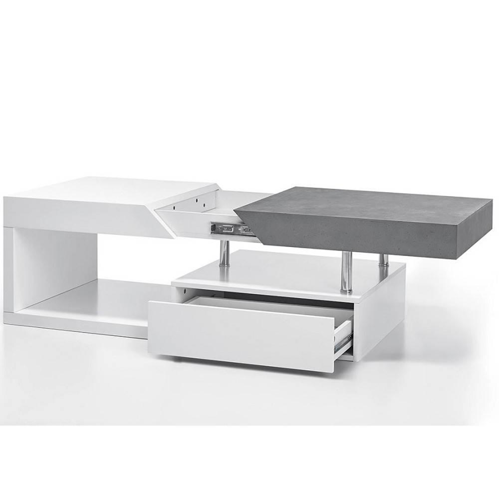 table basse design howard blanche mate et bton plateau coulissant