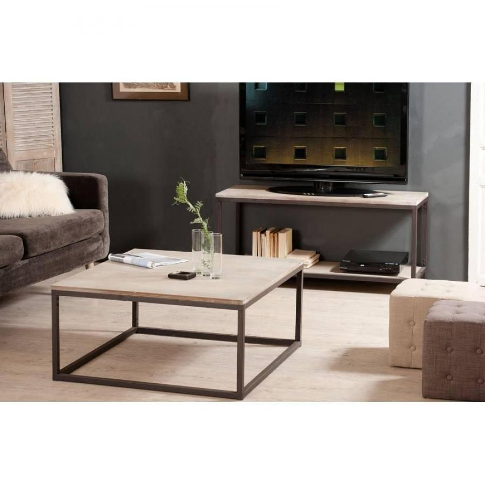 table basse carr e ronde ou rectangulaire au meilleur prix table basse industrielle carr e 90. Black Bedroom Furniture Sets. Home Design Ideas
