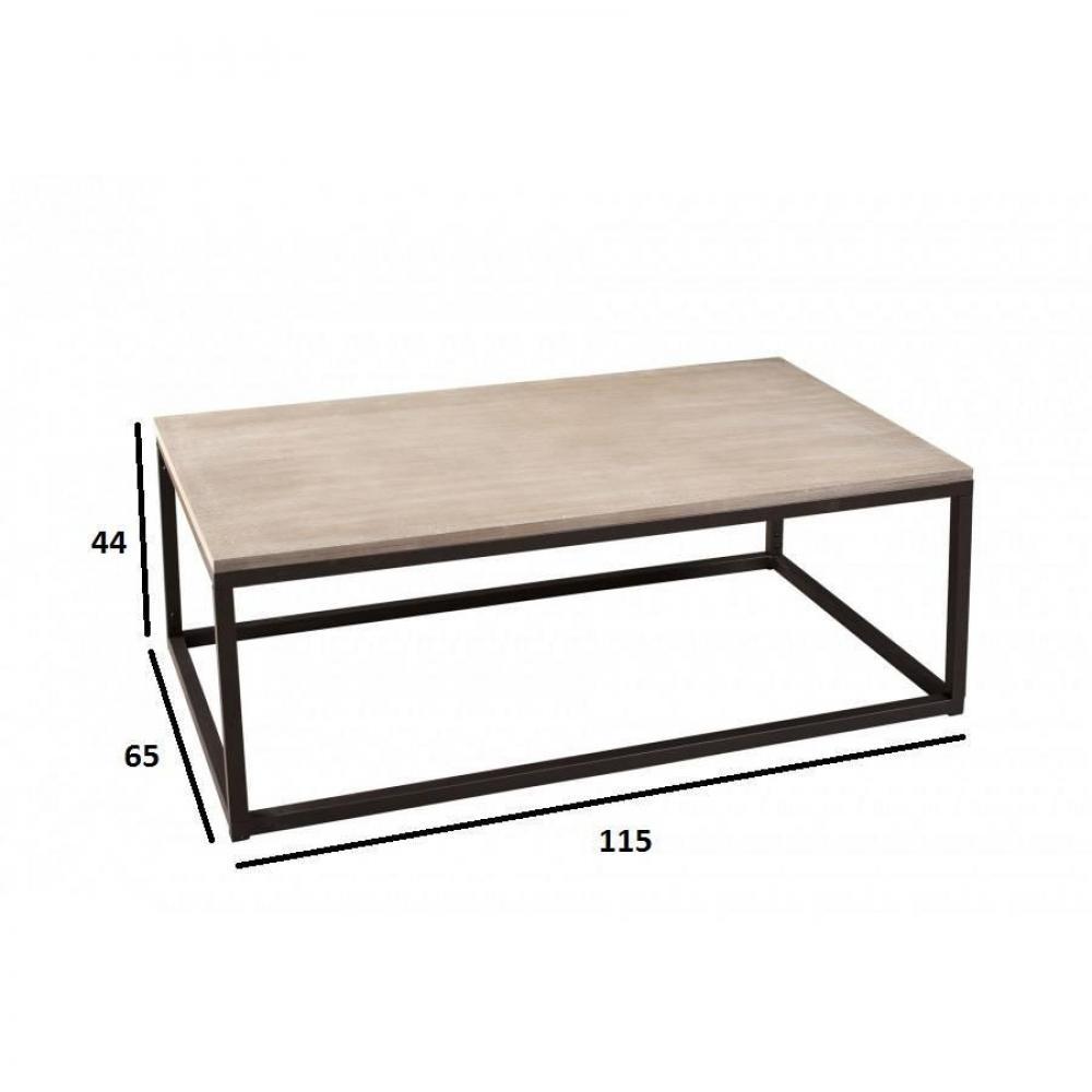 Table basse industrielle rectangulaire 115 x 65 cm LEA en bois de paulownia et en métal