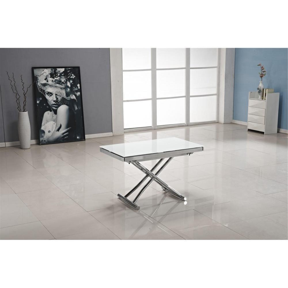 Table basse JUMP extensible relevable en verre blanc.
