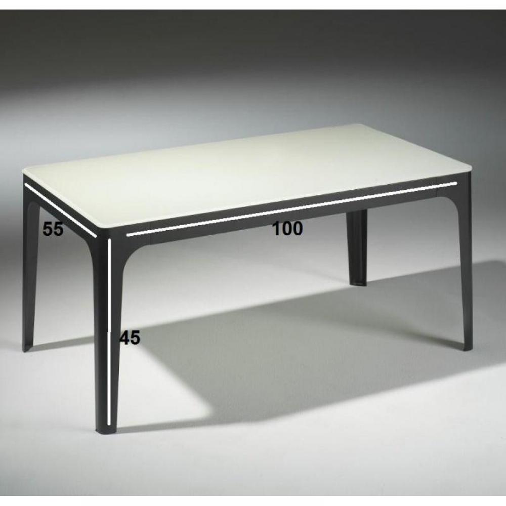 table basse carr e ronde ou rectangulaire au meilleur prix table basse mila en verre blanc et. Black Bedroom Furniture Sets. Home Design Ideas