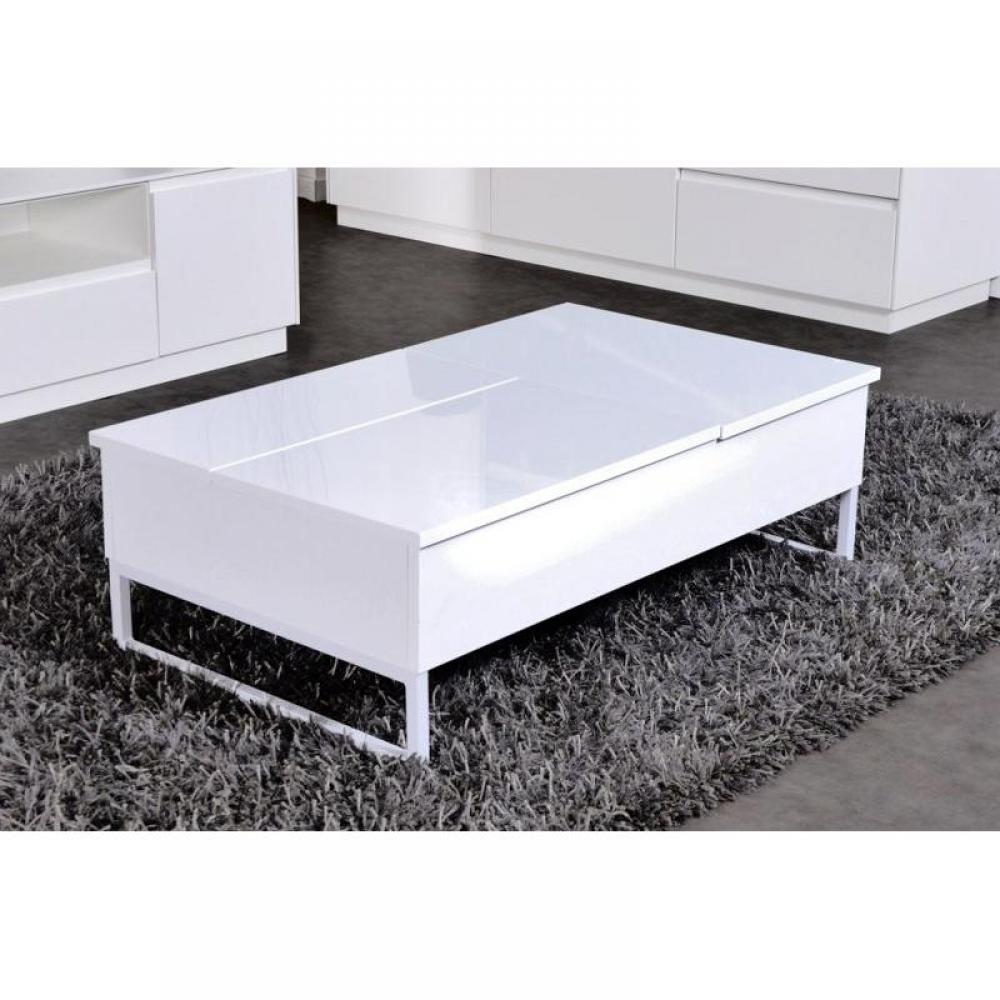 Table basse blanche rectangulaire table basse blanche for Table basse coulissante
