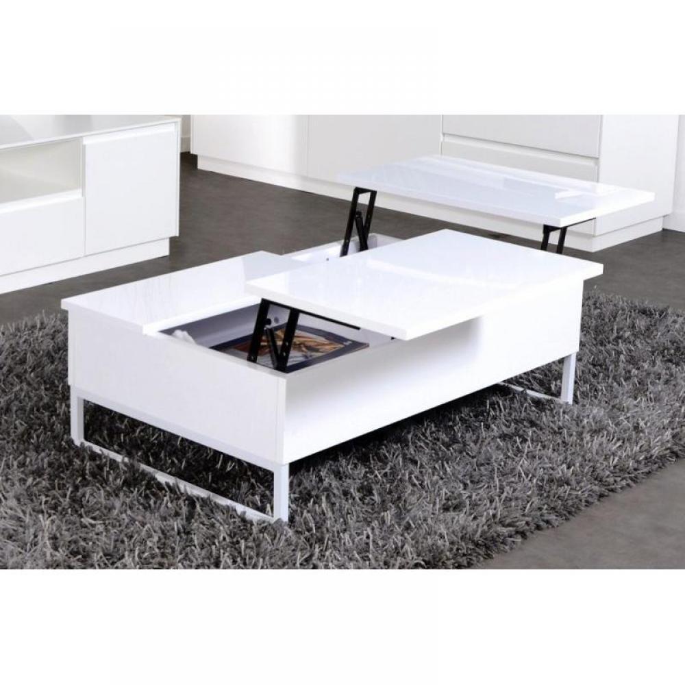 Table basse blanche avec rangement maison design - Table basse ronde rangement ...