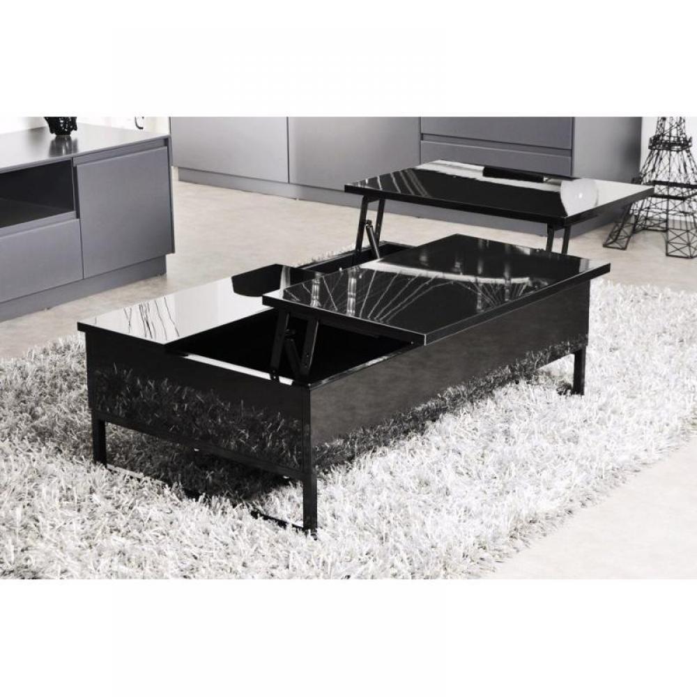 Table basse carr e ronde ou rectangulaire au meilleur prix modula noire ta - Table basse modulable but ...