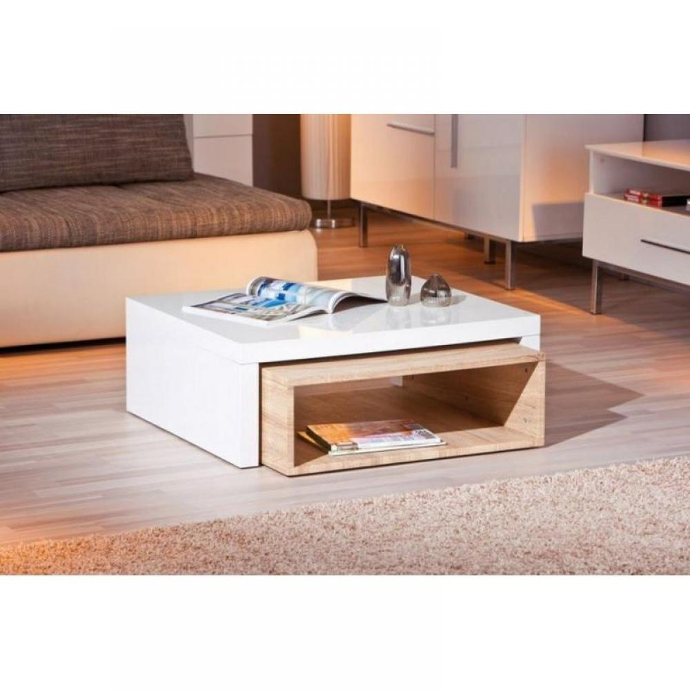Tables modulables tables et chaises table basse design zola blanche et ch n - Table basse design blanche ...
