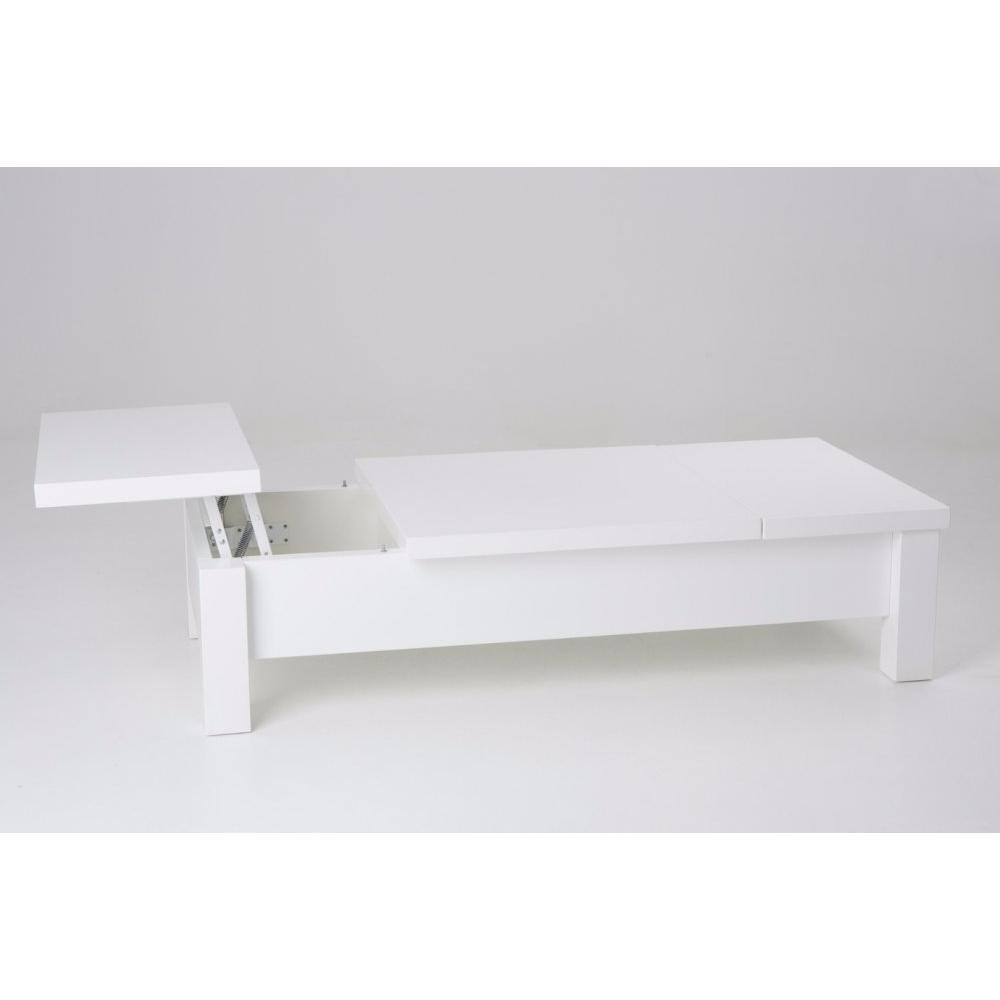 Chaises meubles et rangements table basse natan blanche avec 3 plateaux rel - Table basse blanche avec rangement ...