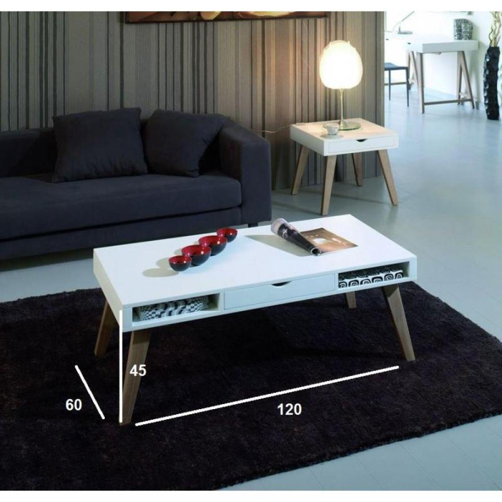 Table basse carr e ronde ou rectangulaire au meilleur prix table basse nory - Table basse blanche tiroir ...