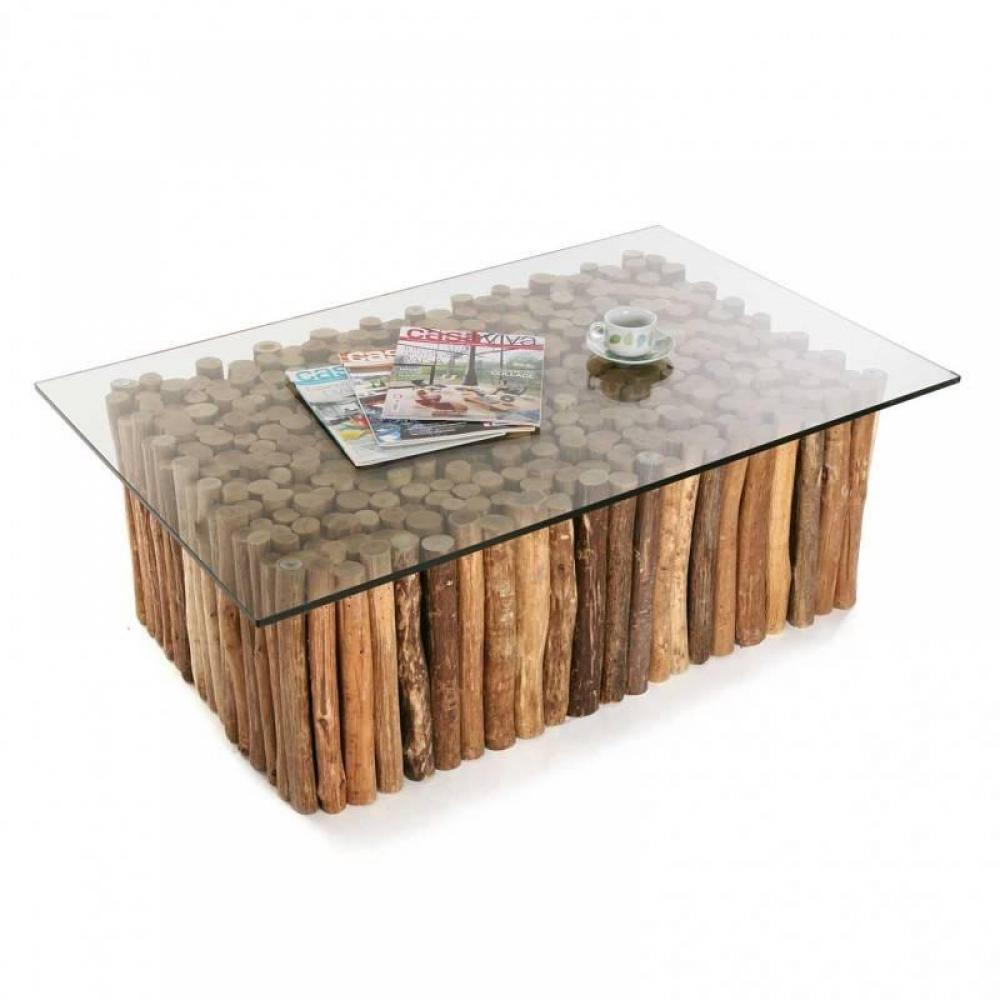 Table basse bois flott plateau verre for Table basse bois flotte
