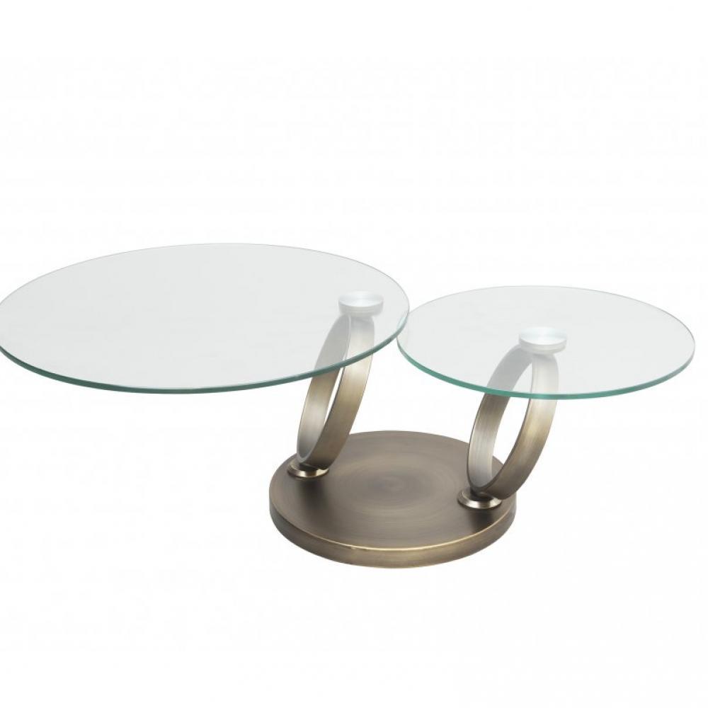Table OLYMPE à plateaux pivotants en verre et piètement BRONZE