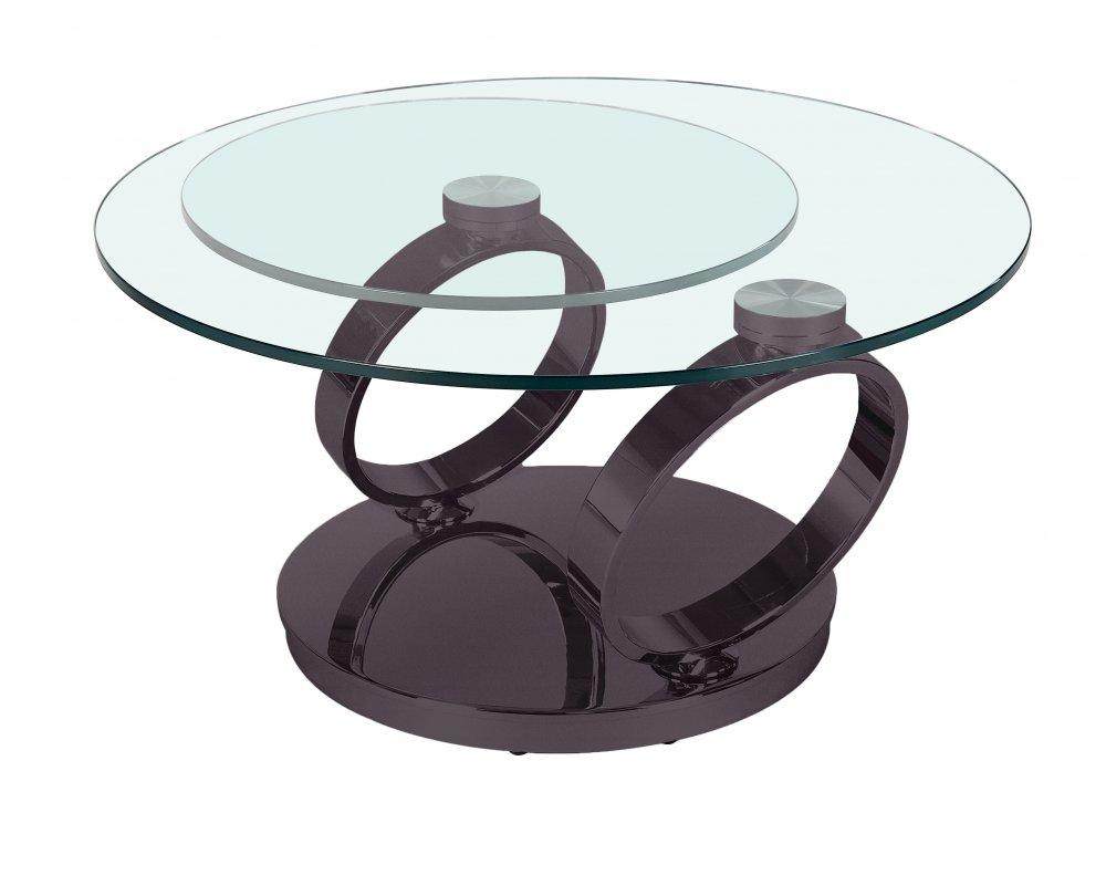 Table OLYMPE à plateaux pivotants en verre et piètement NOIR nickel