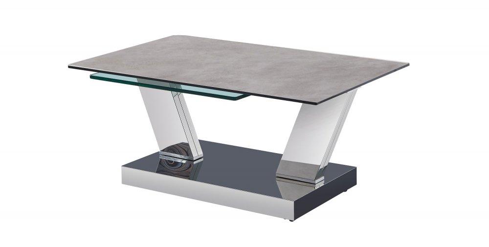 Table OPEN  à doubles plateaux pivotants en verre trempé et céramique CIMENT