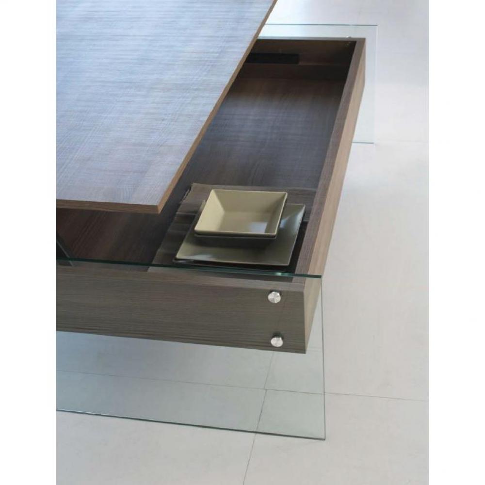 Table basse relevable BELLA 80x80cm coloris noyer piétement en verre