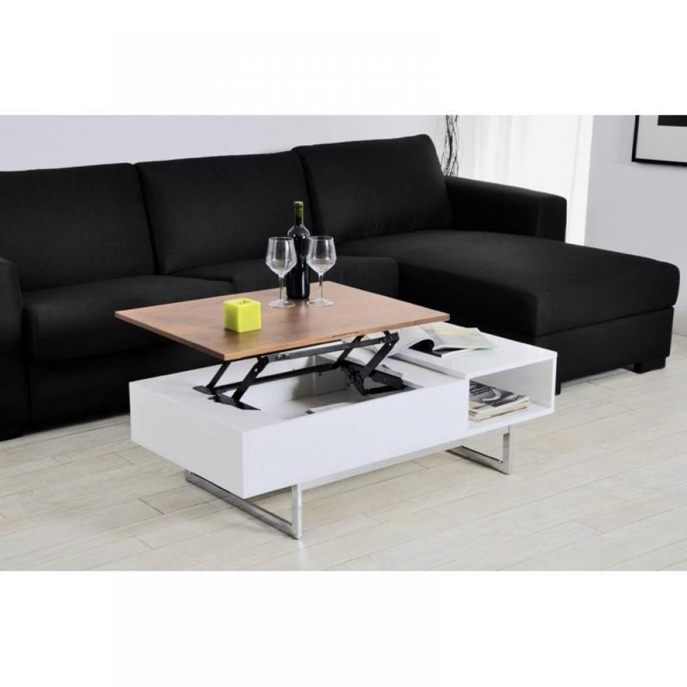 Table basse carr e ronde ou rectangulaire au meilleur prix table basse tagg - Table rehaussable but ...