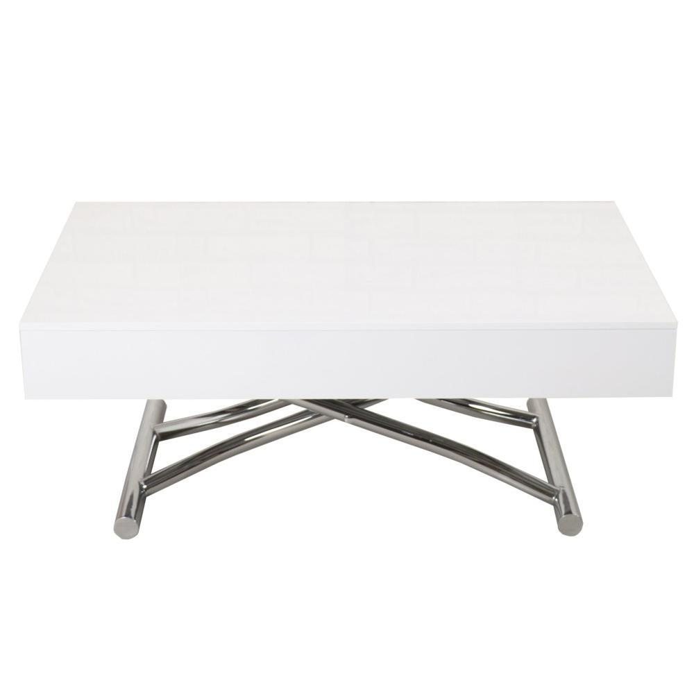 95cce52864f9d Table basse relevable CUBE blanc brillant extensible 12 couverts