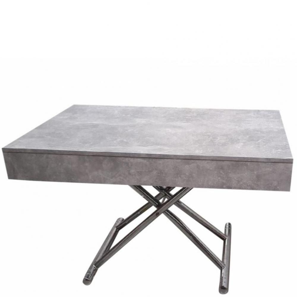 Table Basse Relevable Cube Coloris Beton Extensible 10 Couverts